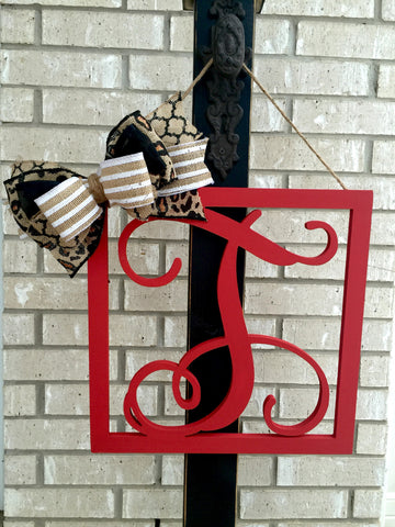 Custom Painted Single Framed Wooden Monograms with Optional Bow - Vine Font
