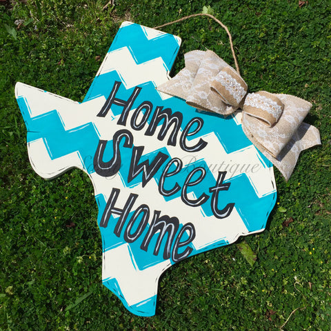 Wreaths and Door Decor-Custom Wooden State Door Hanger with Phrase of Your Choice and Bow-Sassy Chic Boutique - 1