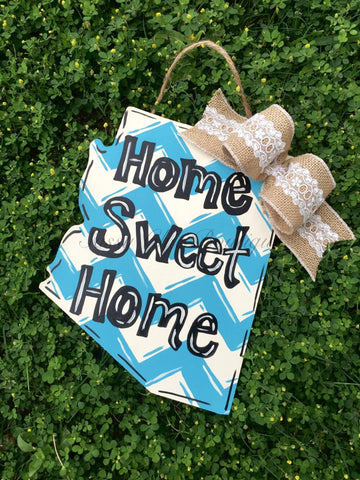 Wreaths and Door Decor-Custom Wooden State Door Hanger with Phrase of Your Choice and Bow-Sassy Chic Boutique - 2