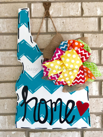 Wreaths and Door Decor-Custom Wooden State Door Hanger with Phrase of Your Choice and Bow-Sassy Chic Boutique - 3