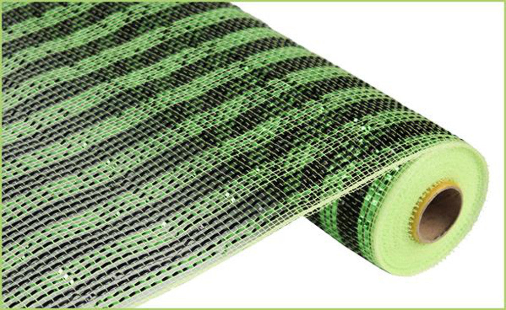 "Wreath Supplies-Deluxe Deco Mesh Black and Lime Green Striped - (RE1063JK) - 21"" x 10 yds-Sassy Chic Boutique"