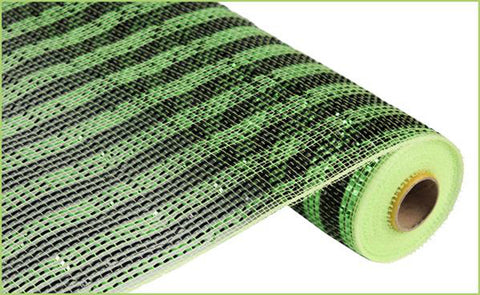 "Deluxe Deco Mesh Black and Lime Green Striped - (RE1063JK) - 21"" x 10 yds"