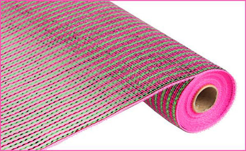 "Deluxe Deco Mesh Hot Pink And Lime Green - (RE1048W5) - 21"" x 10 yds"