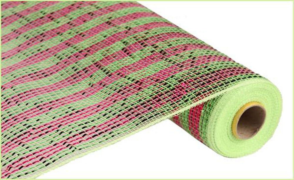 "Wreath Supplies-Deluxe Deco Mesh Hot Pink And Lime Green - (RE1063JR) - 21"" x 10 yds-Sassy Chic Boutique"