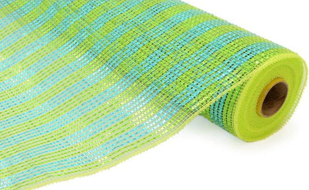 "Wreath Supplies-Deluxe Deco Mesh Lime And Turquoise - (RE1063JH) - 21"" x 10 yds-Sassy Chic Boutique"
