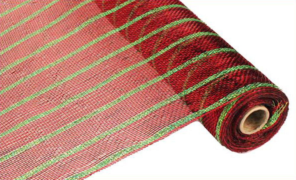 "Wreath Supplies-Deluxe Deco Mesh Metallic Red with Laser Lime - (RE1033T1) - 21"" x 10 yds-Sassy Chic Boutique"