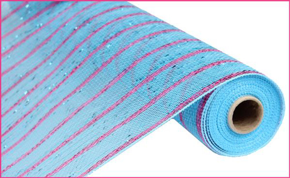 "Wreath Supplies-Deluxe Deco Mesh Turquoise Metallic w/Fuchsia - (RE1033EF) - 21"" x 10 yds-Sassy Chic Boutique"
