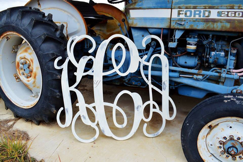 Custom Triple Wooden Monogram - Unfinished and Distressed
