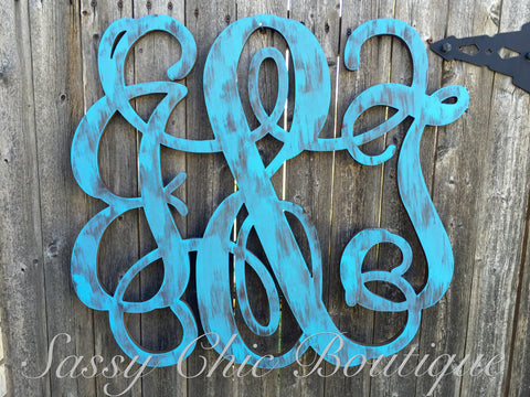 "Custom Distressed Double Wooden Monogram with ""&"" - Vine Font"