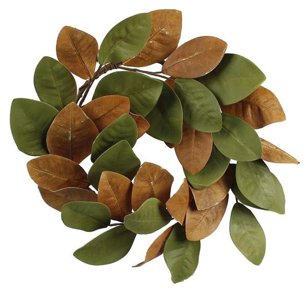 "Wreaths and Door Decor-L.Green/Gld/L.Brown/Brown 23""Dia Magnolia Leaf Wreath-Sassy Chic Boutique"