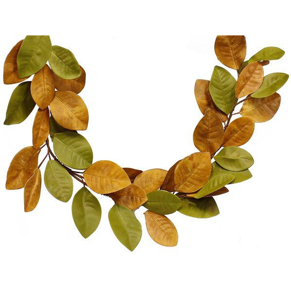 Wreaths and Door Decor-L.Green/Gld/L.Brown/Brown 5 Magnolia Leaf Garland-Sassy Chic Boutique