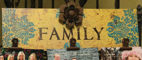 "Family Clips Sign - Gold and Turquoise with Metal Flower - 16"" x 5"""