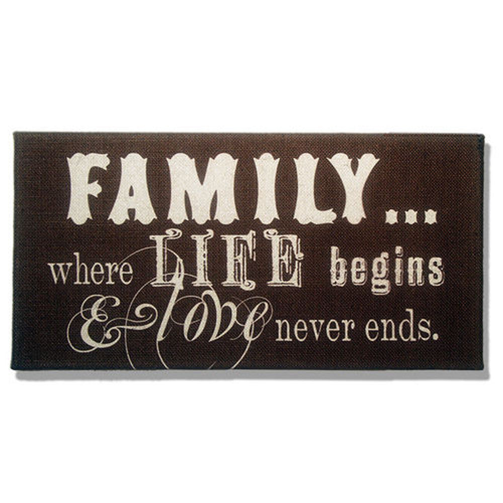 Home Decor-Family Where Life Begins & Love Never Ends Dark Brown Burlap Plaque-Sassy Chic Boutique