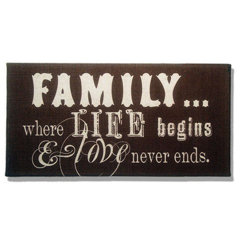 Family Where Life Begins & Love Never Ends Dark Brown Burlap Plaque