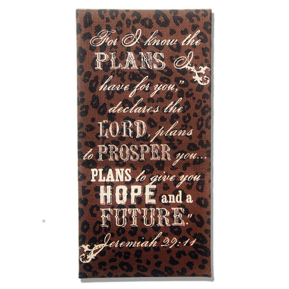 Home Decor-For I Know the Plans Jeremiah 29:11 Brown and Leopard Burlap Plaque-Sassy Chic Boutique