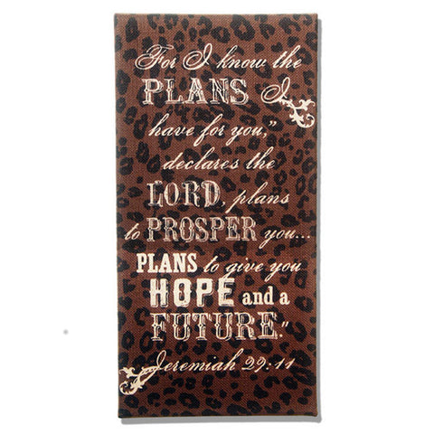 For I Know the Plans Jeremiah 29:11 Brown and Leopard Burlap Plaque