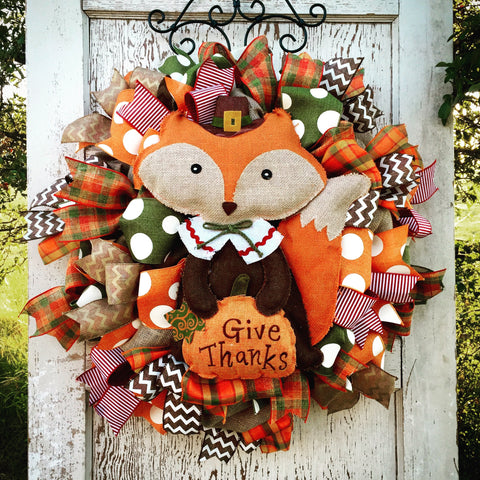 "Foxy Fall Wreath 28"" **shipping is included in the price"
