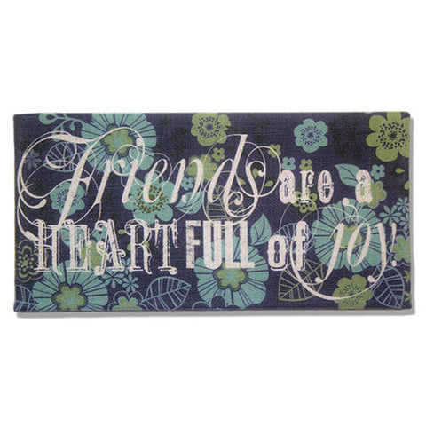 Friends Are A Heart Full of Joy Blue, Green, and Turquoise Burlap Plaque