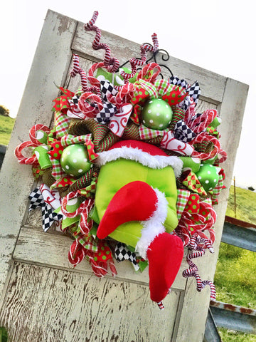 Wreaths and Door Decor-Christmas Monster Whimsical Wreath **FREE SHIPPING**-Sassy Chic Boutique - 2