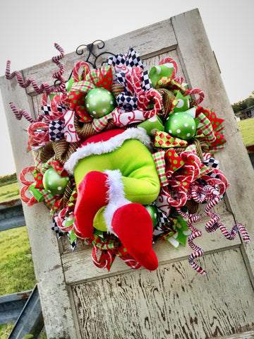 Wreaths and Door Decor-Christmas Monster Whimsical Wreath **FREE SHIPPING**-Sassy Chic Boutique - 3