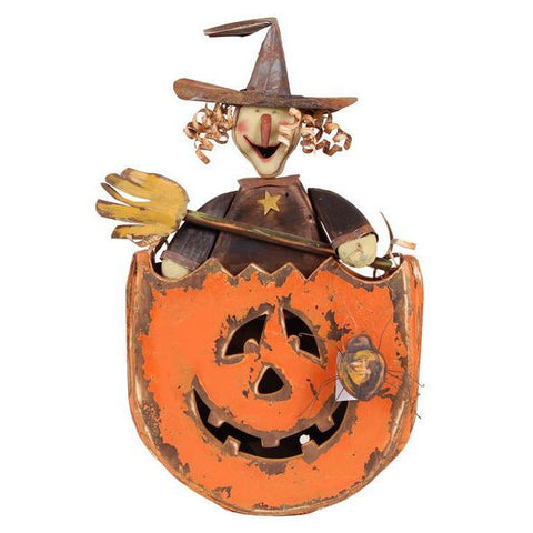 "Orange/Black/Brown 26""H Wood Witch In Pumpkin"