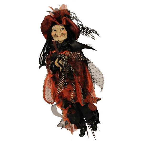 "Home Decor-Black/Orange 20""L Hanging Witch-Sassy Chic Boutique"