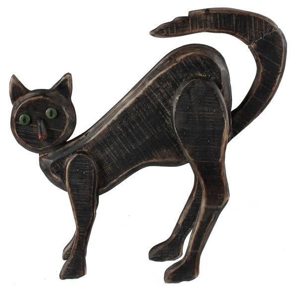 "Home Decor-Black/Nat/Brown 18""H Wood Cat-Sassy Chic Boutique"