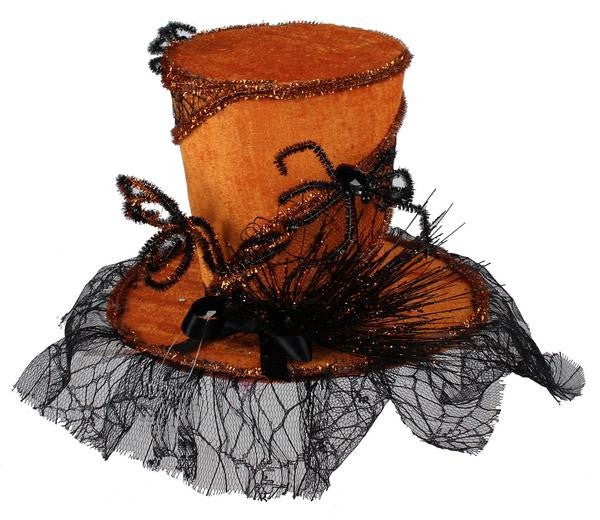 "Home Decor-Orange/Black 10""Dia Velvet Web Top Hat-Sassy Chic Boutique"