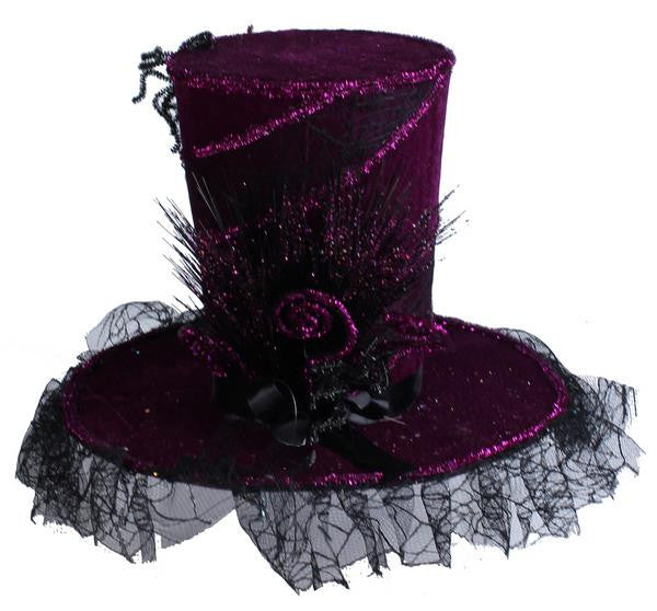 "Home Decor-Purple/Black 15.5""Dia Velvet Web Top Hat-Sassy Chic Boutique"