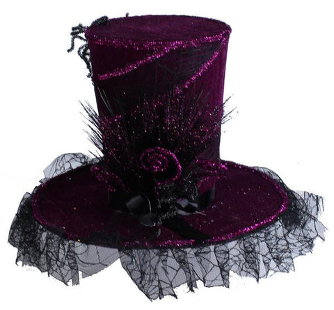 "Purple/Black 15.5""Dia Velvet Web Top Hat"