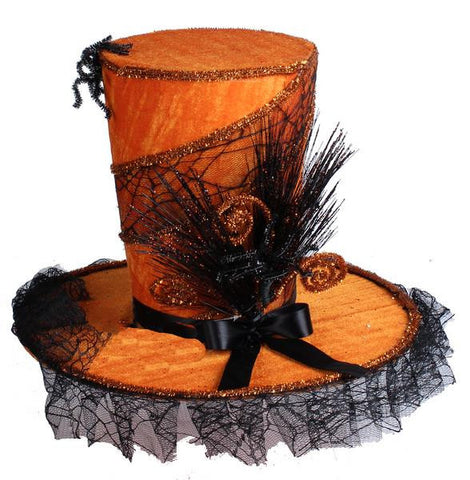 "Orange/Black 15.5""Dia Velvet Web Top Hat"