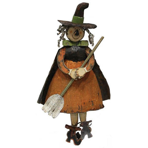 "Orange/Black 36""H Witch W/Broom"