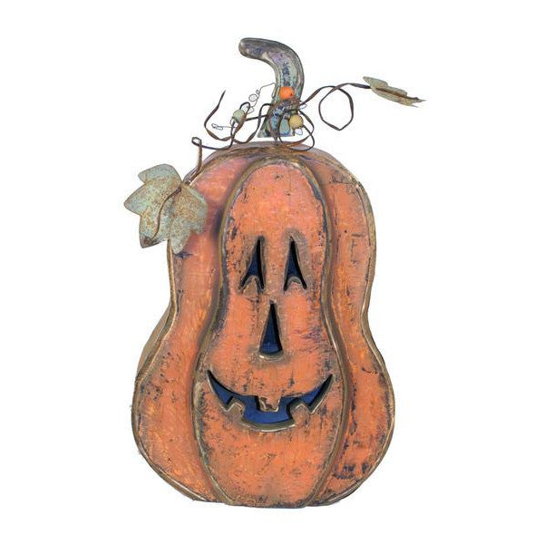 "Home Decor-Orange/Sage 28""H Wood Pumpkin W/Face-Sassy Chic Boutique"