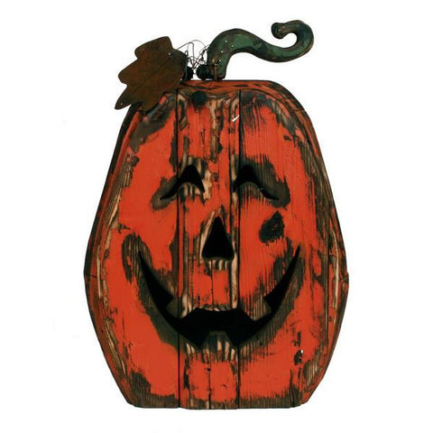 "Orange/Red 25""H Wood Pumpkin W/Face"