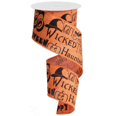 "Halloween Print Ribbon with Wicked, Scary, and Haunted - Orange/Black (RG1156) - 2.5""x 10 yds"