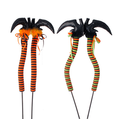 "42"" Halloween Witch Legs - Choice of Orange/Black Stripe or Orange/Green/Black Stripe (H3416025) - 42"" x 12"""