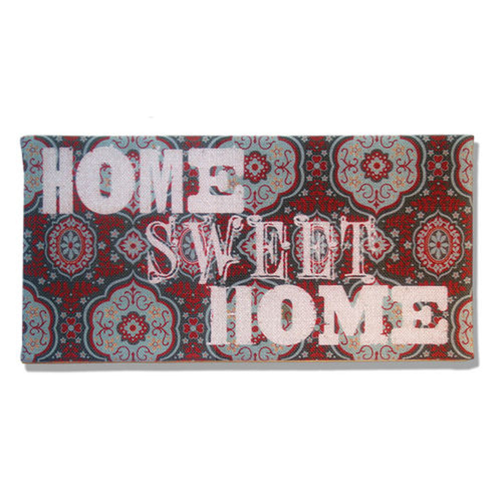 Home Decor-Home Sweet Home Red, Teal, and Lt Blue Burlap Plaque-Sassy Chic Boutique