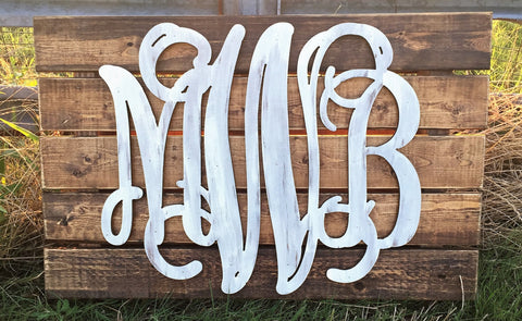 Wooden Monograms-Custom Triple Wooden Monogram Pallet-Sassy Chic Boutique - 2