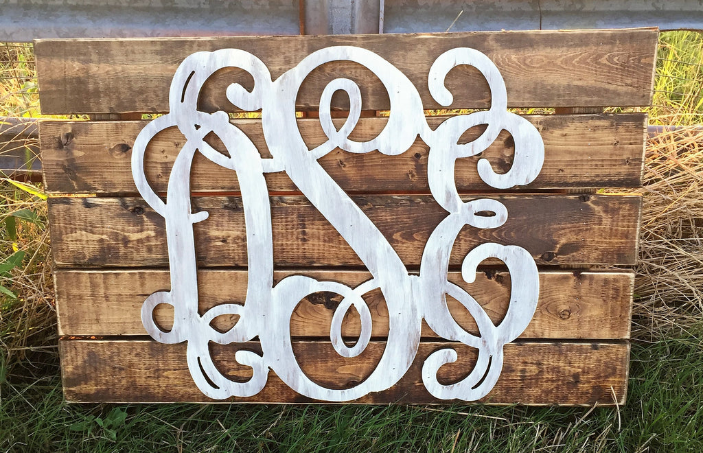 Wooden Monograms-Custom Triple Wooden Monogram Pallet-Sassy Chic Boutique - 1