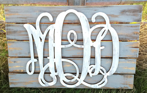 Wooden Monograms-Custom Triple Wooden Monogram Pallet-Sassy Chic Boutique - 3