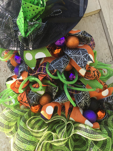 Wreaths and Door Decor-Deluxe Lime Green Witch Door Piece with Variable Hat Options - 4' Tall-Sassy Chic Boutique - 4