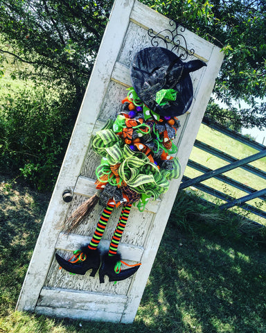Wreaths and Door Decor-Deluxe Lime Green Witch Door Piece with Variable Hat Options - 4' Tall-Sassy Chic Boutique - 2