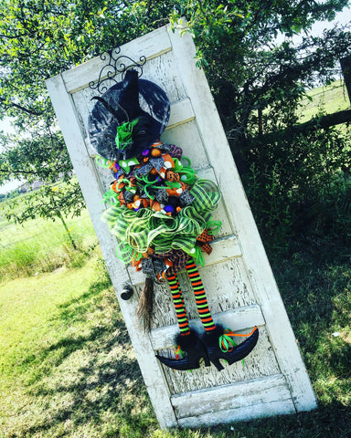 Wreaths and Door Decor-Deluxe Lime Green Witch Door Piece with Variable Hat Options - 4' Tall-Sassy Chic Boutique - 3