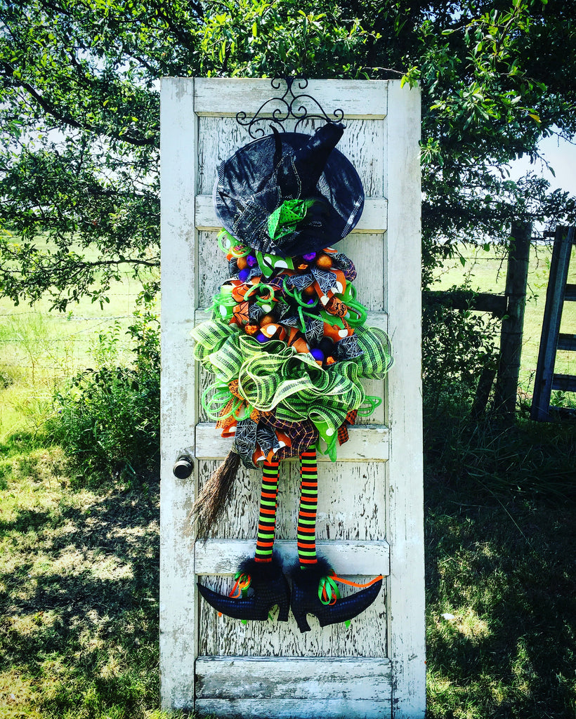 Wreaths and Door Decor-Deluxe Lime Green Witch Door Piece with Variable Hat Options - 4' Tall-Sassy Chic Boutique - 1