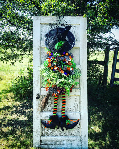 Deluxe Lime Green Witch Door Piece with Variable Hat Options - 4' Tall