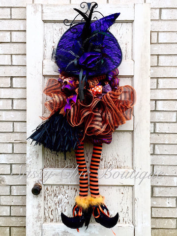 Deluxe Orange Witch Door Piece with Variable Hat Options - 4' Tall ***FREE SHIPPING***