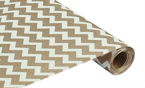 "19"" Ivory and Beige Wide Chevron Fabric Roll - 19"" x 5 yds - (RG702833)"