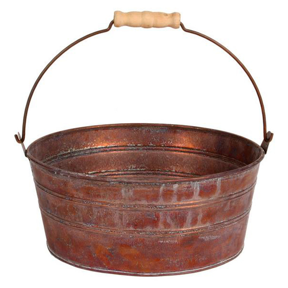 "Home Decor-Rustic Metal Planter with Wooden Handle - 10"" Diameter-Sassy Chic Boutique"