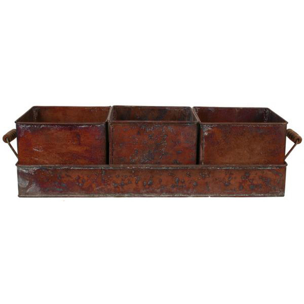 Home Decor-Rustic Metal Planter with Wooden Handles-Sassy Chic Boutique