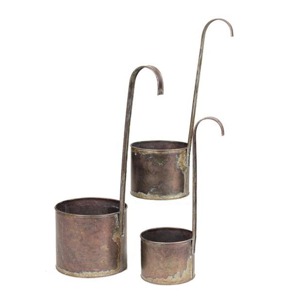 Home Decor-Rustic Metal Hanging Pots with Long Handle - Set of 3-Sassy Chic Boutique